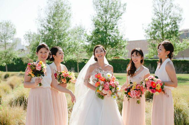 pink maxi bridesmaids