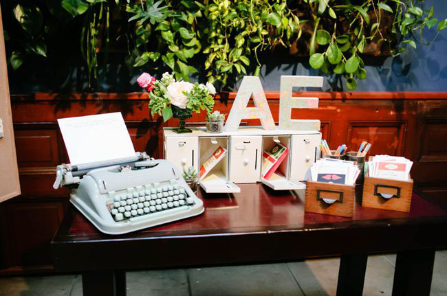 typewriter card table