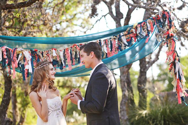mid century bride and groom