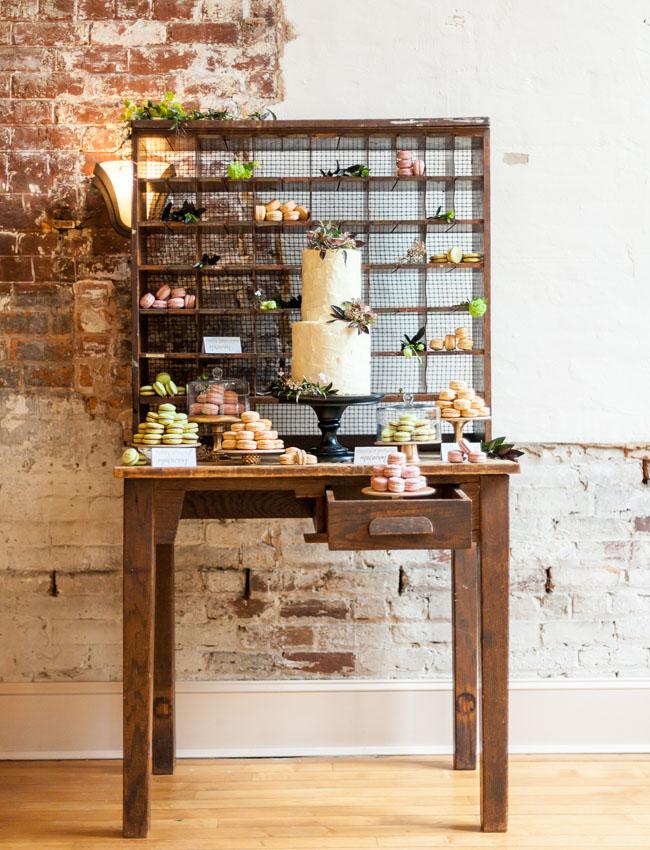 modern rustic dessert bar