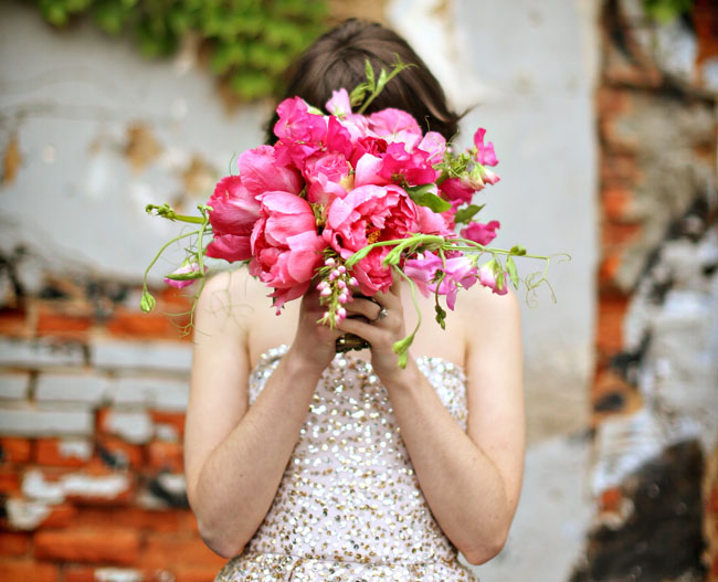 gold and pink peony bouquet
