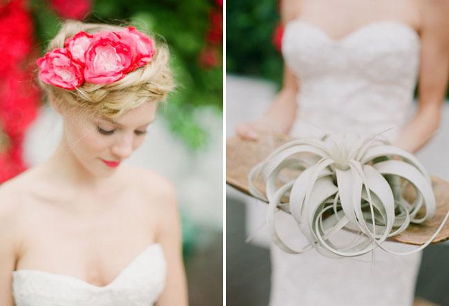 red flower bridal hair piece