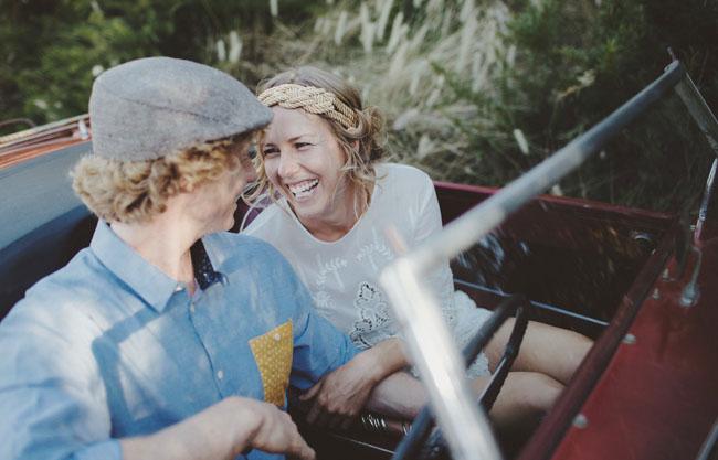 bride and groom in getaway
