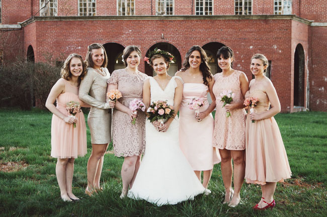 mismatched lace bridesmaids