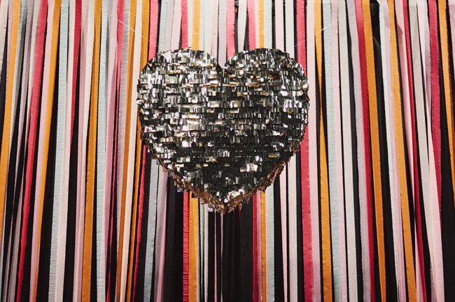 silver confetti heart