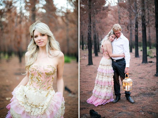 pink and gold ruffle wedding dress