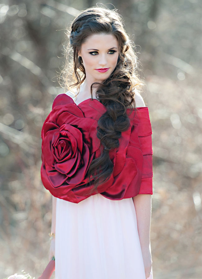 snow white red rose dress