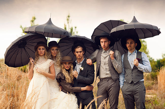 vintage black umbrellas