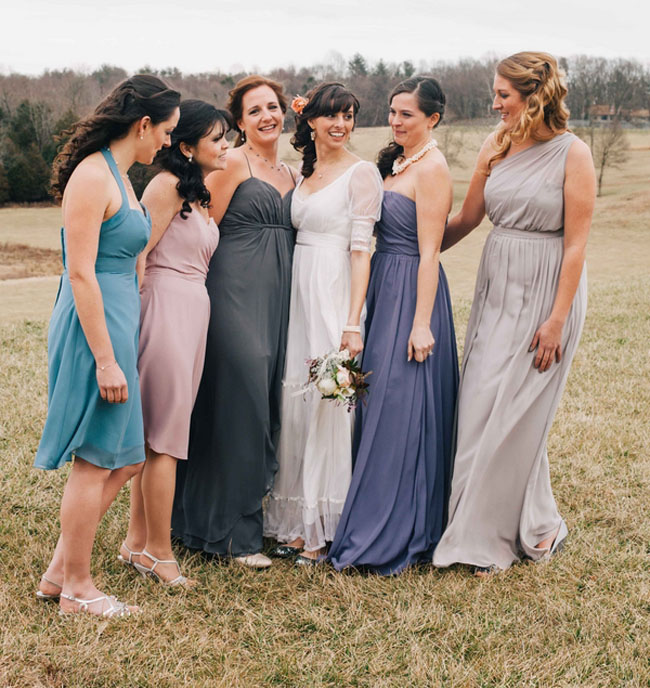 winter vineyard bridesmaids