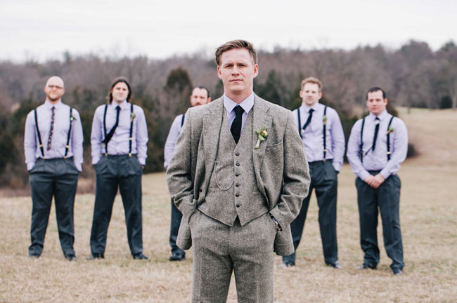 winter vineyard groomsmen