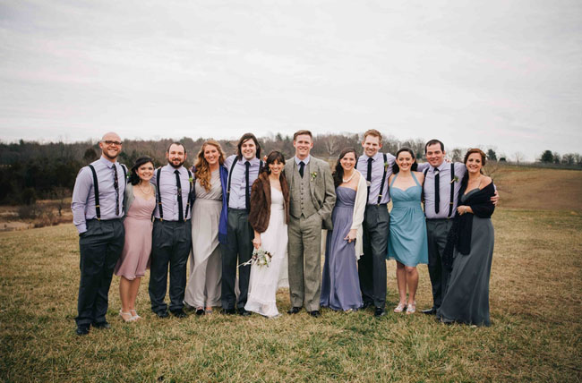 winter vineyard wedding party