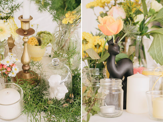 yellow and green table decor