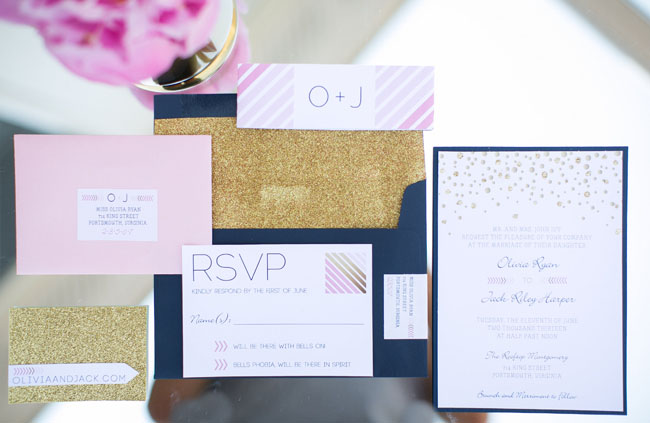 gold navy pink invitation