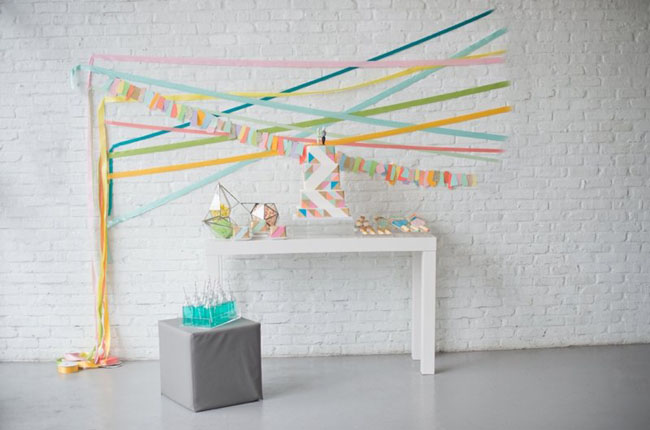 paper geometric backdrop