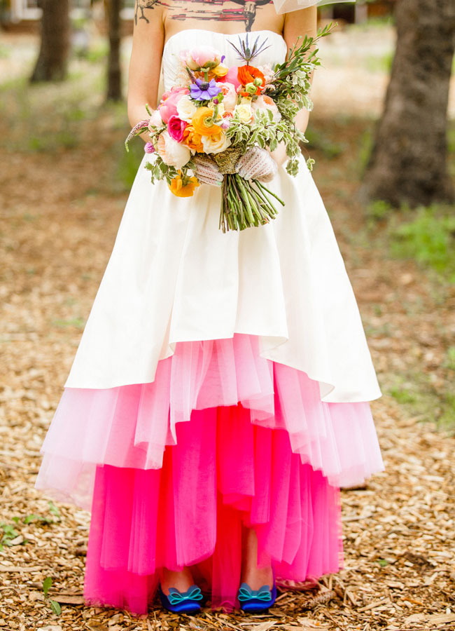 pink ombre tulle wedding dress