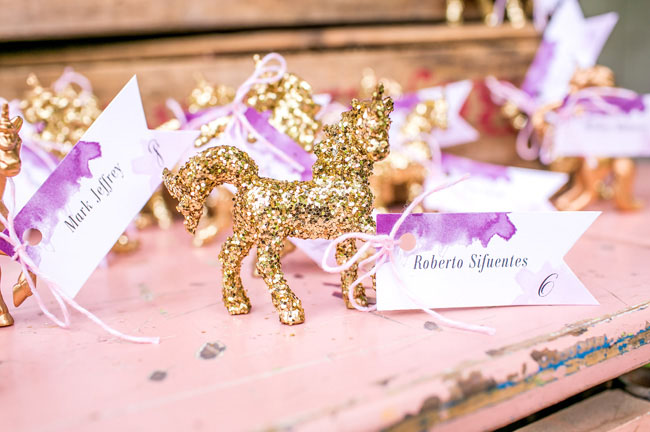 glitter unicorn escort cards