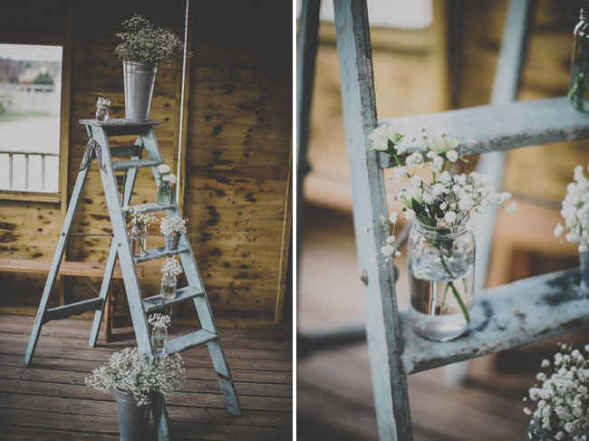 ladder with babys breath