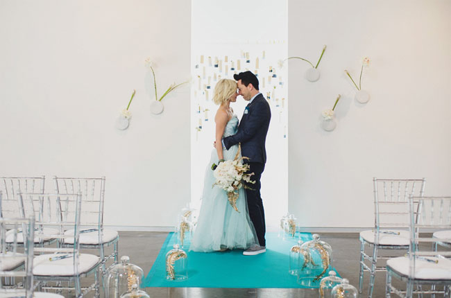 Modern Vow Renewal Inspiration With Blue Details Green Wedding Shoes