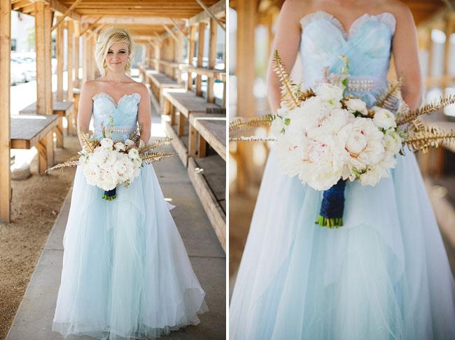 modern blue wedding dress