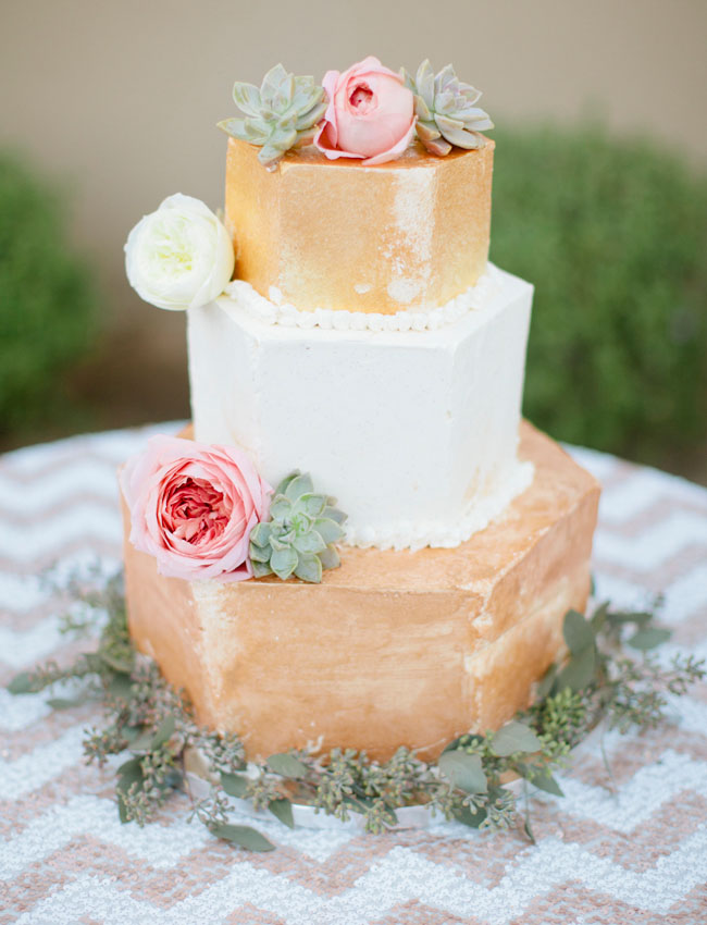 palm springs gold wedding cake