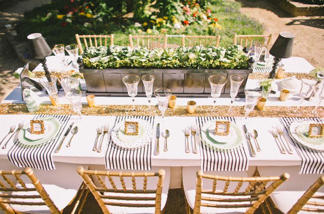 paris inspired table. striped place setting & Romantic Parisian Wedding Inspiration