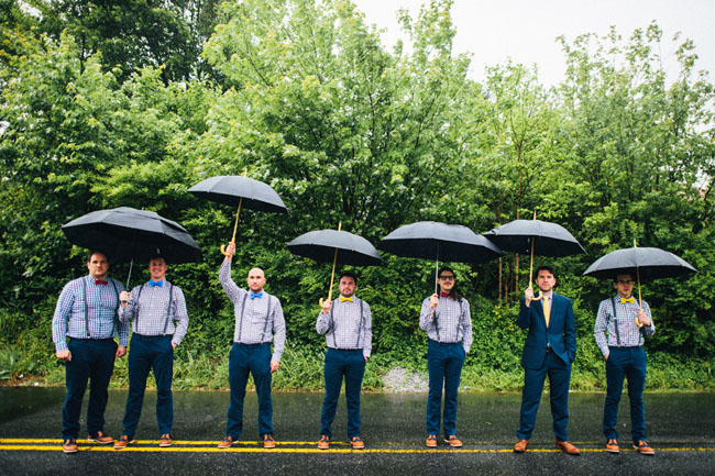 groomsmen in the rain