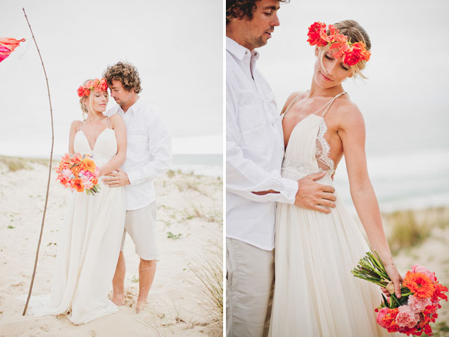 surf bride and groom