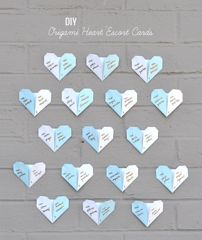 Diy origami heart escort cards green wedding shoes for Diy paper origami