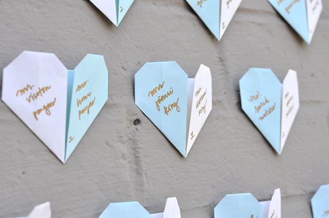 DIY Origami Heart Escort Cards Green Wedding Shoes