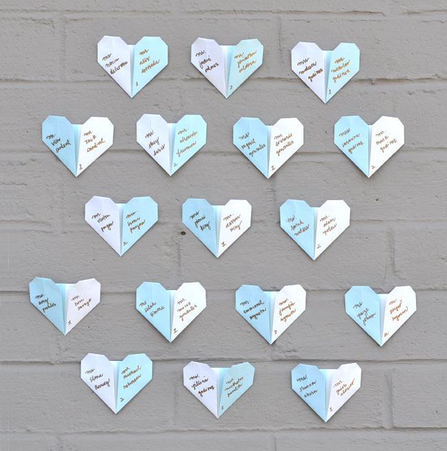 DIY Origami Heart Escort Cards Green Wedding Shoes