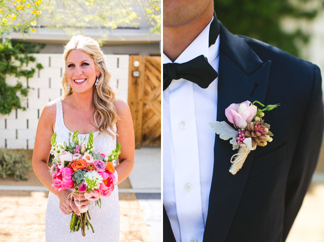 pink and gold boutonniere