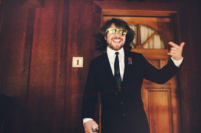 groom in shades