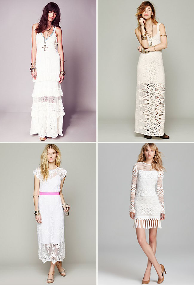 fringe and crochet wedding dresses