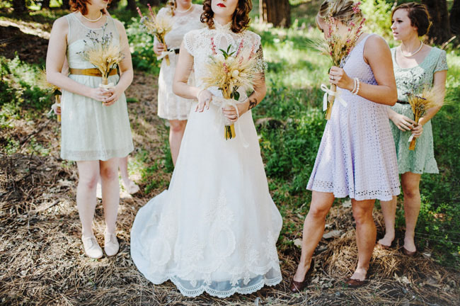 mismatched vintage bridesmaids