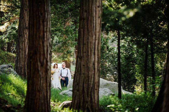 bride walking through woods