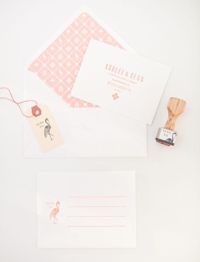 pink stamp invitation set