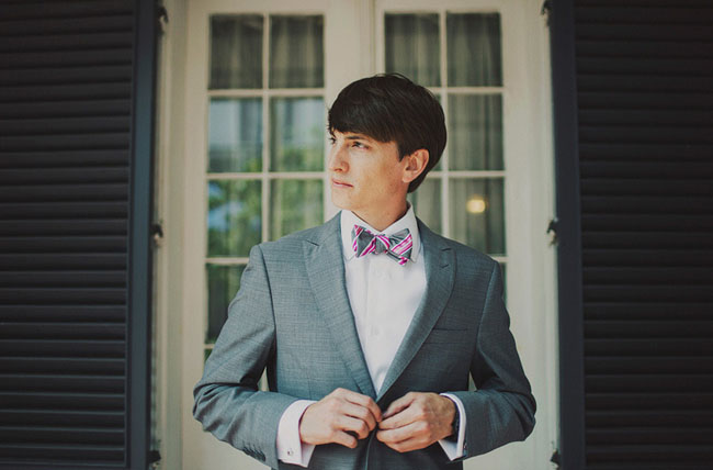 new orleans groom with bow tie