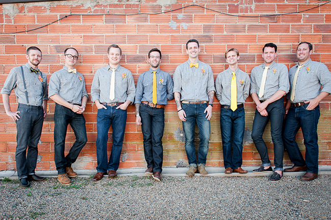 yellow tie groomsmen