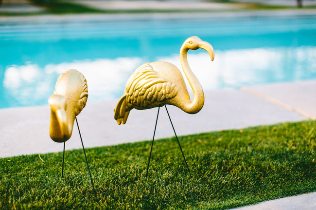 gold flamingos