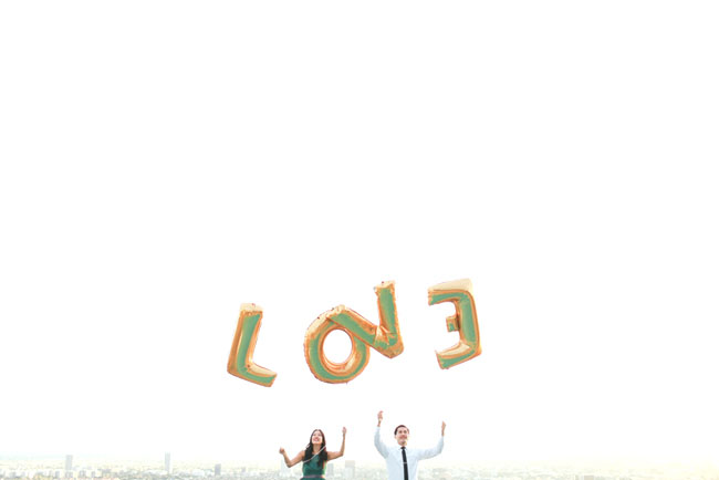 gold love balloons