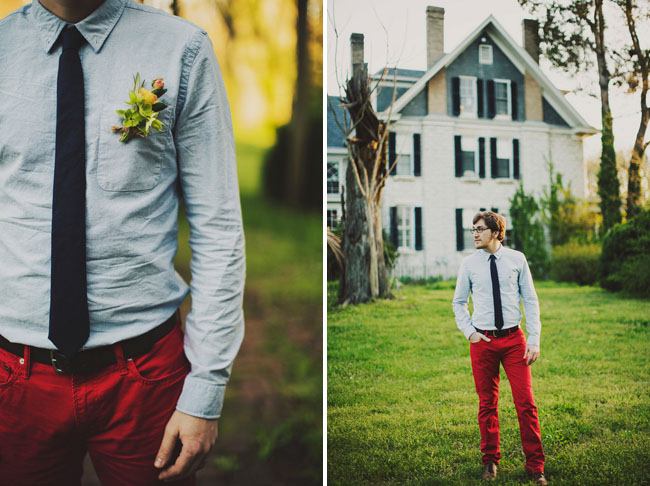 groom in red pants