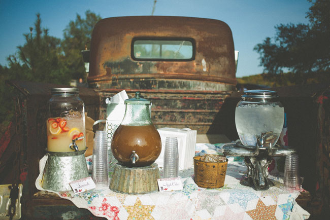 drinks in the back of a vintage truck