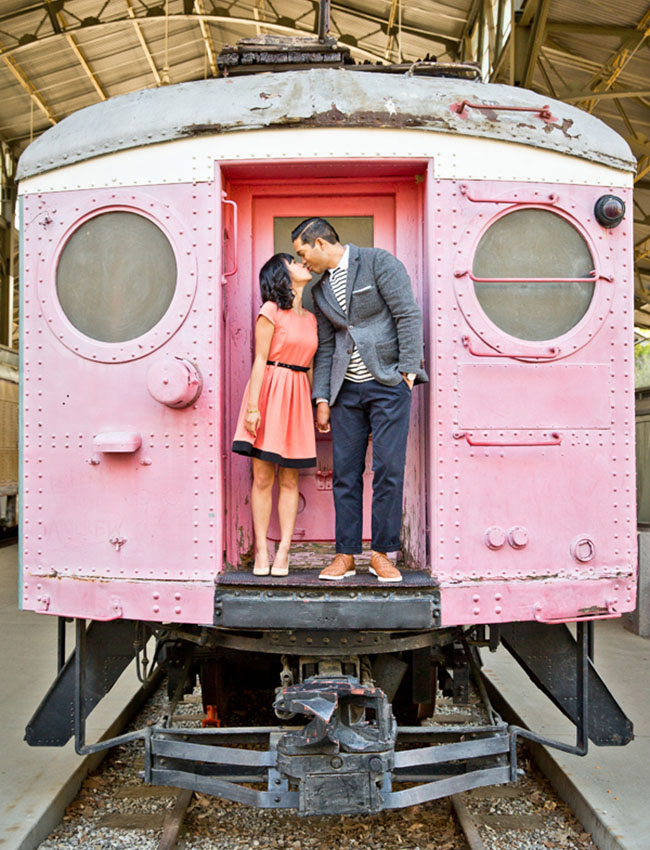 pink train engagement