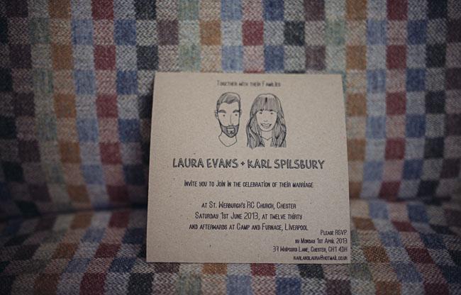 UK illustrated wedding invitation