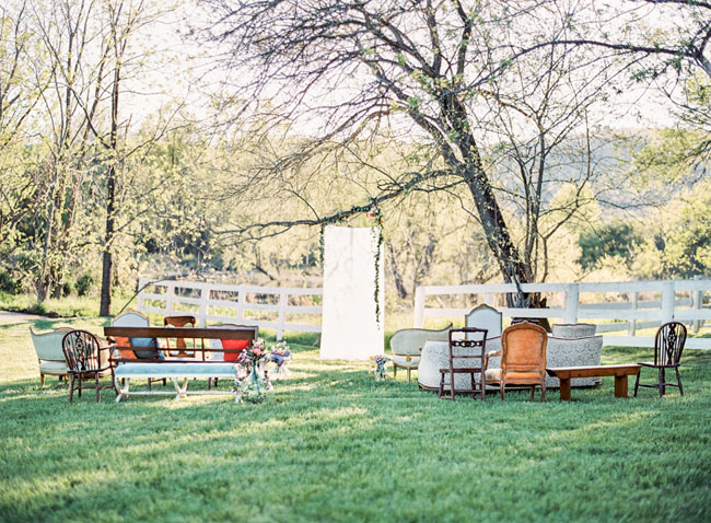 mismatched ceremony chairs