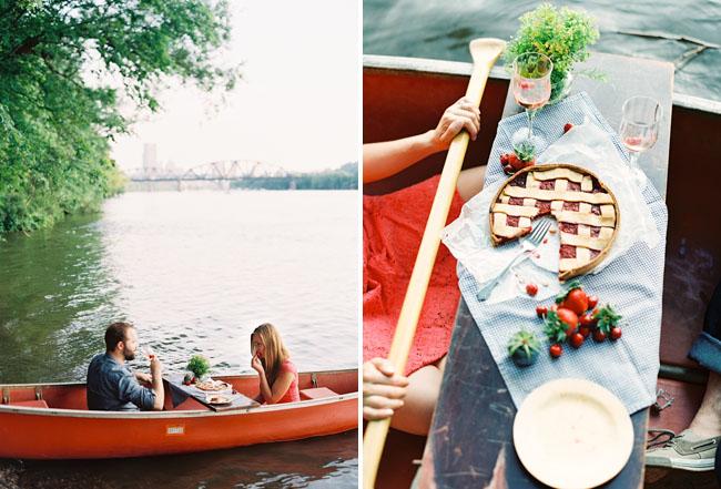 picnic on a canoe