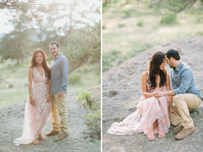 pink maxi engagement dress
