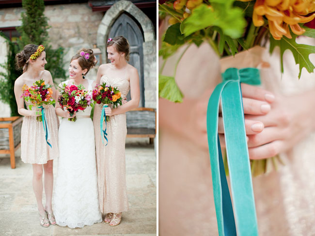 teal bouquet tassles