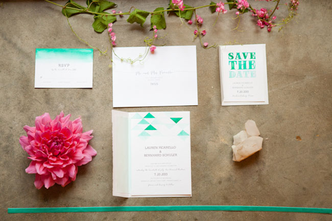 geometric teal invite