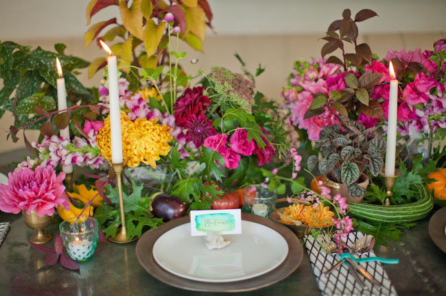 colorful austin tablescape